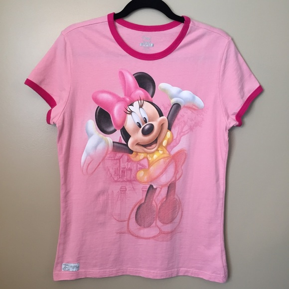 4b24915085c4 Disney Tops | Minnie Mouse Graphic Ringer Tee Pink Large | Poshmark